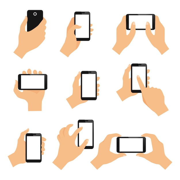 Gli elementi di progettazione di gesti di mano del touch screen di colpo pizzicano e toccano l'illustrazione di vettore isolata Vettore gratuito