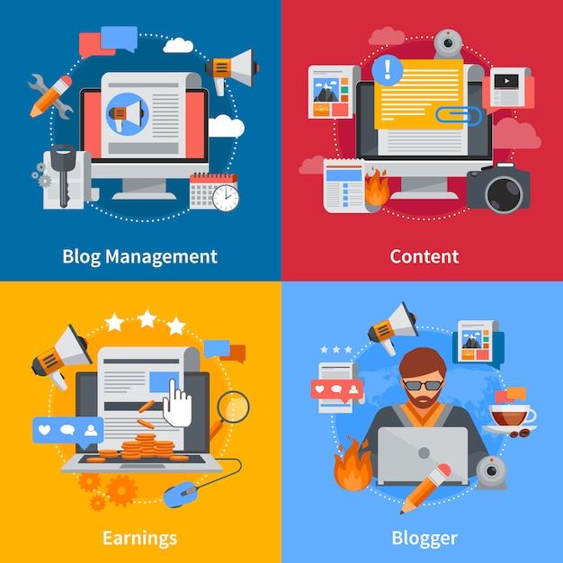 Gli elementi piani di blogging e il set di caratteri con il contenuto e gli orecchini della gestione del blog di blogger sugli ambiti di provenienza variopinti hanno isolato l'illustrazione di vettore Vettore gratuito