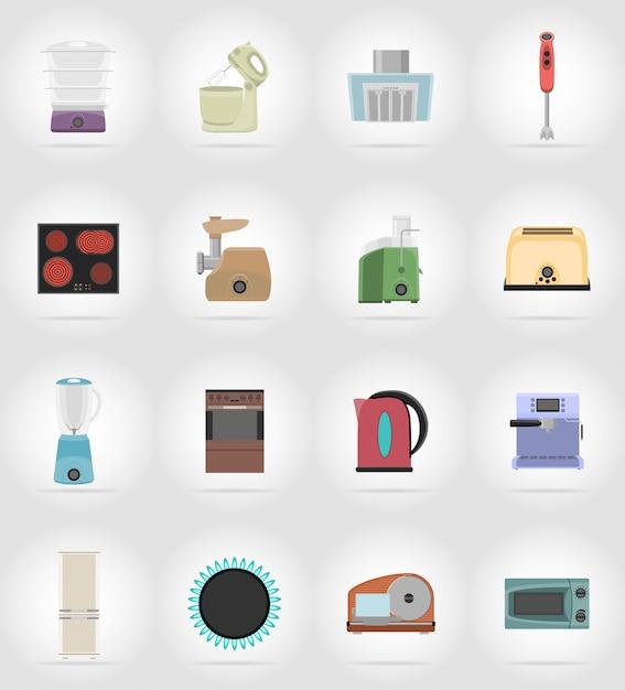Gli elettrodomestici per le icone piane della cucina vector l'illustrazione Vettore Premium