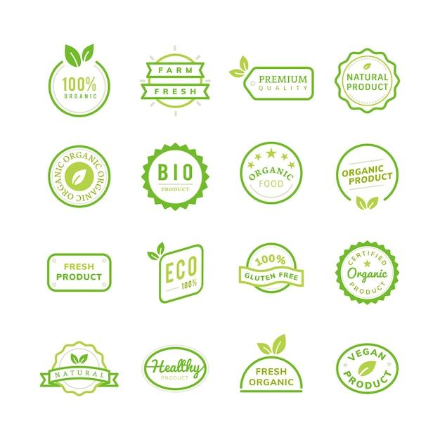 Gli emblemi del bollo del prodotto biologico hanno messo l'illustrazione Vettore gratuito