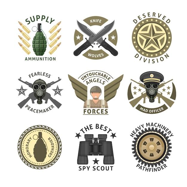 Gli emblemi delle unità militari con le stelle attraversate stelle della ruota cingolata del respiratore delle munizioni dell'arma hanno isolato l'illustrazione di vettore Vettore gratuito