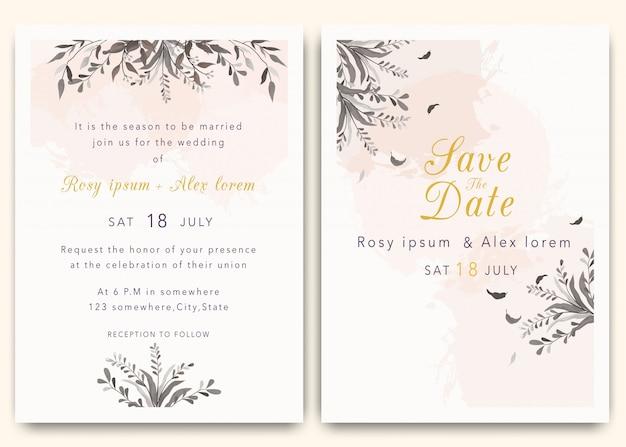 Gli inviti di nozze salvano il design della data card con l'elegante anemone da giardino. Vettore Premium