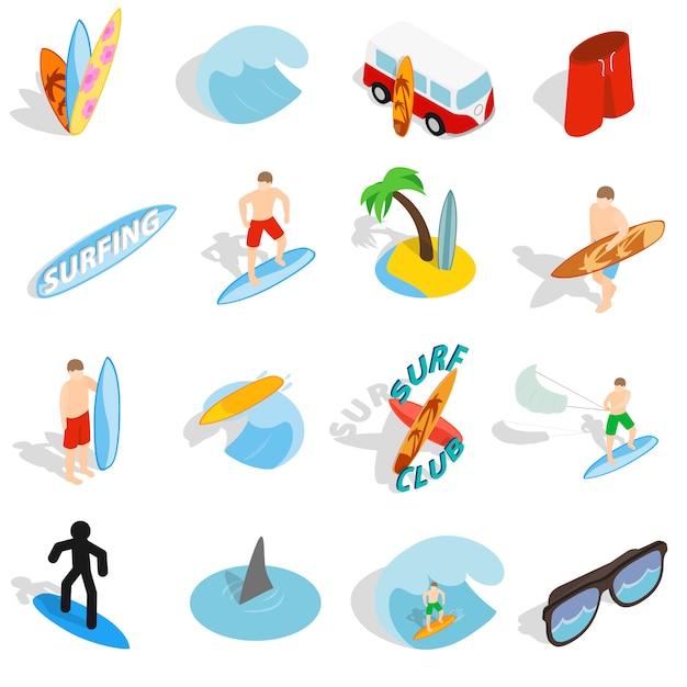 Gli isoli praticanti il surfing hanno messo nello stile isometrico 3d isolato su fondo bianco Vettore Premium