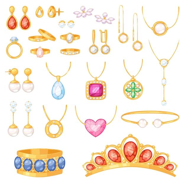 Gli orecchini della collana del braccialetto dell'oro dei gioielli dei gioielli e gli anelli d'argento con gli accessori del gioiello dei diamanti hanno messo l'illustrazione su fondo bianco Vettore Premium