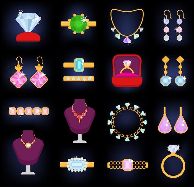 Gli orecchini della collana del braccialetto dell'oro dei gioielli e gli anelli d'argento con gli accessori del gioiello dei diamanti hanno messo l'illustrazione isolata su fondo bianco Vettore Premium
