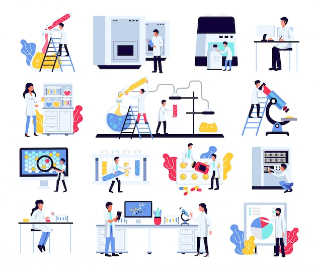 Gli scienziati di chimica di ricerca di laboratorio farmaceutico hanno impostato con composizioni isolate di attrezzature e mobili di laboratorio di caratteri umani Vettore gratuito