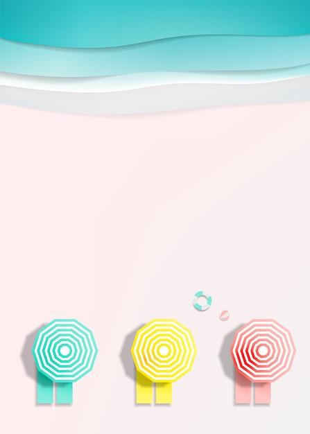 Gli sdrai sulla spiaggia con il fondo dell'oceano per l'estate nell'illustrazione di vettore di stile di arte di carta Vettore Premium