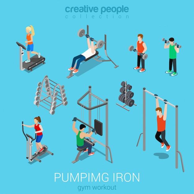 Gli sportivi che eseguono il tapis roulant pompando ferro palestra allenamento esercizio set isometrico piatto. Vettore gratuito