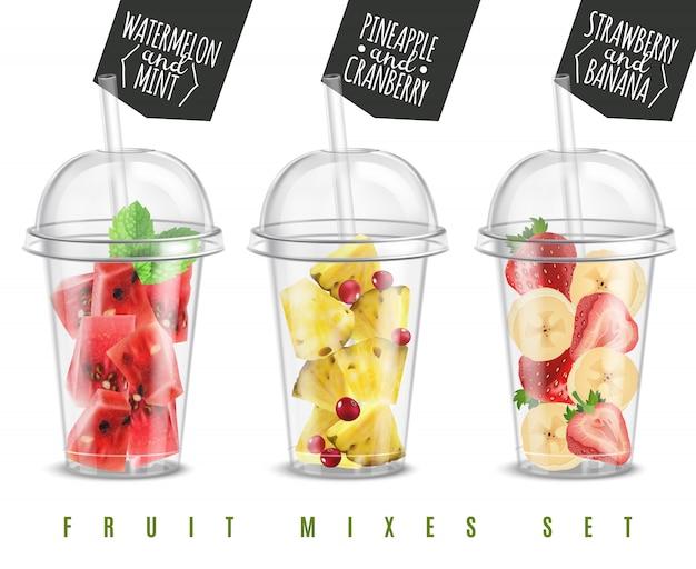 Gli spuntini realistici dell'estate della miscela 3 della frutta nelle porzioni di vetro di plastica hanno messo con l'illustrazione di vettore della banana della fragola dell'ananas dell'anguria Vettore gratuito