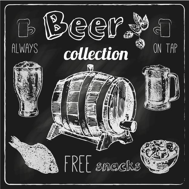 Gli spuntini salati sempre liberi colpiscono l'illustrazione isolata vettore di schizzo della raccolta degli elementi della pubblicità della lavagna del gesso della barra della birra Vettore Premium