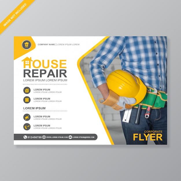 Gli strumenti di costruzione coprono il modello di design a4 flyer Vettore Premium