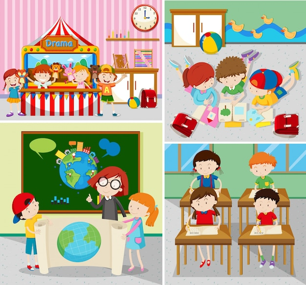 Gli studenti imparano e giocano in aule Vettore Premium
