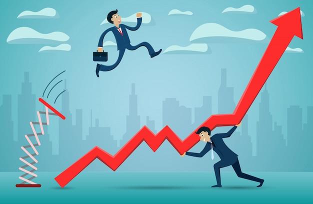 Gli uomini d'affari che saltano dal trampolino attraverso la freccia rossa vanno verso l'obiettivo di successo. Vettore Premium