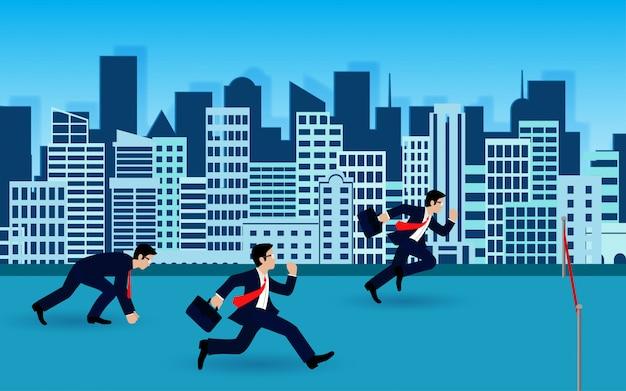Gli uomini d'affari corrono al traguardo per il successo nel business concept. idea creativa Vettore Premium