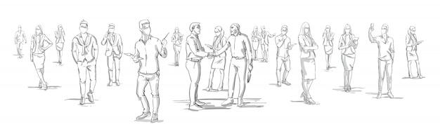 Gli uomini d'affari della siluetta stringono le mani con la gente di affari raggruppano sulle persone di affari del fondo che stringono l'insegna orizzontale delle mani Vettore Premium