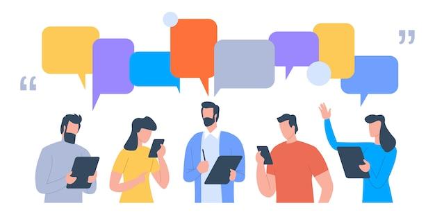 Gli uomini d'affari discutono di social network, notizie, social network Vettore Premium