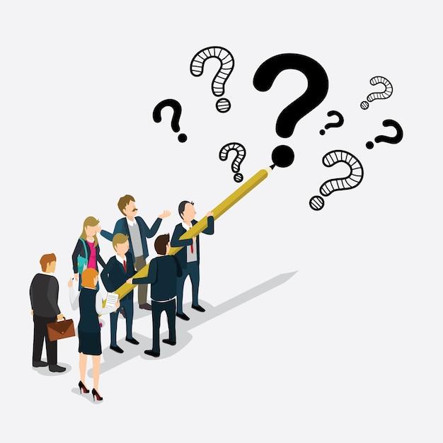 Gli uomini d'affari hanno progettato il punto interrogativo isometrico Vettore Premium