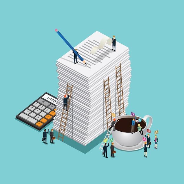 Gli uomini d'affari lavorano per la finanza con il documento Vettore Premium