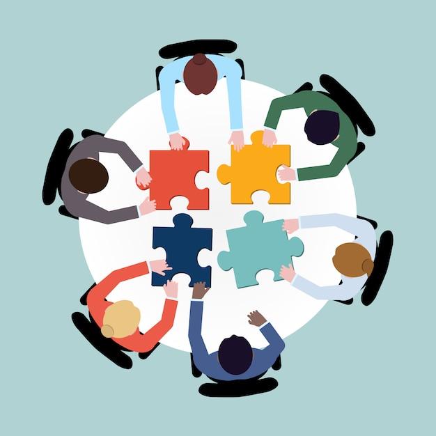 Gli uomini d'affari puzzle Vettore Premium