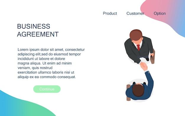 Gli uomini d'affari si stringono la mano per la cooperazione e fanno un accordo dopo la riunione di negoziazione. Vettore Premium