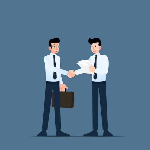 Gli uomini d'affari si stringono la mano. Vettore Premium