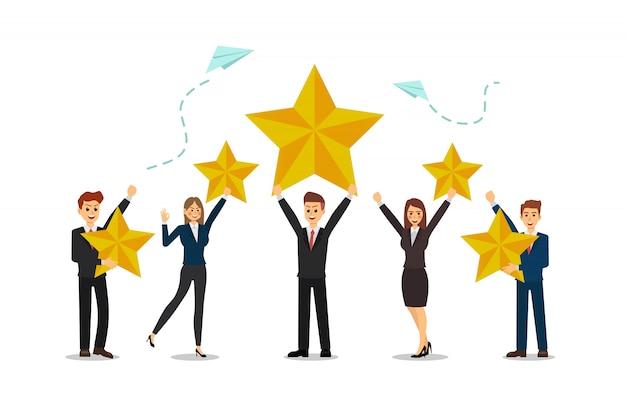 Gli uomini d'affari sono felici di avere successo, punteggi alti, stella. Vettore Premium