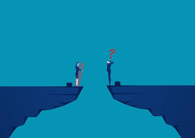 Gli uomini d'affari stanno gareggiando attraverso la scogliera verso l'obiettivo di fronte alla scala rossa per raggiungere l'obiettivo di successo Vettore Premium