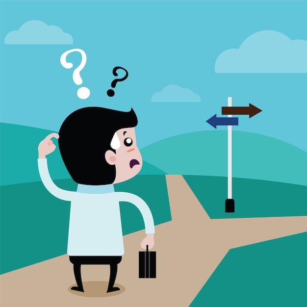 Gli uomini d'affari stanno scegliendo un futuro percorso, cartoon vettoriale Vettore Premium