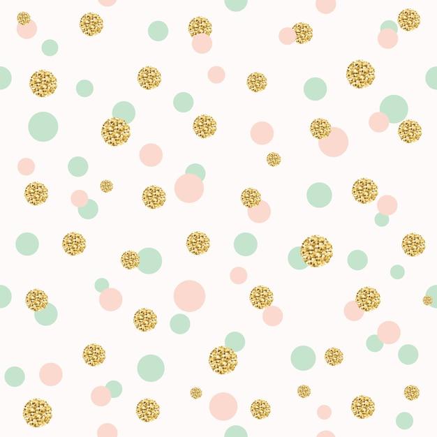 Glitter confetti a pois senza cuciture. Vettore Premium