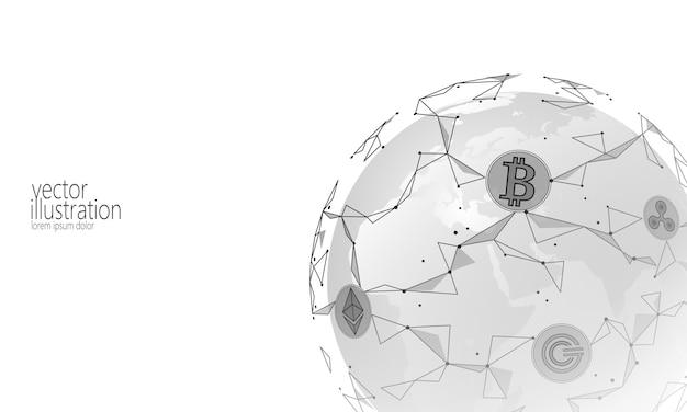 Global blockchain internazionale criptovaluta, planet space low poly modern Vettore Premium