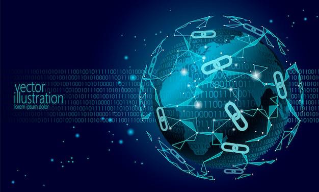 Global blockchain internazionale criptovaluta, planet space low poly Vettore Premium