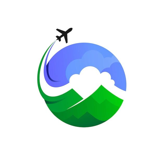 Globo con nuvole e silhouette di montagna Vettore Premium
