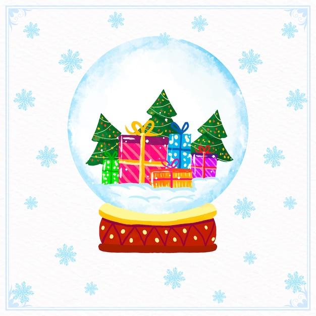 Globo della palla di neve di natale dell'acquerello Vettore gratuito