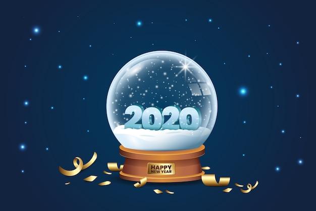 Globo di cristallo con neve e coriandoli per il 2020 nuovo anno Vettore gratuito
