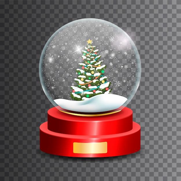 Globo di neve di natale. sfera di vetro Vettore Premium