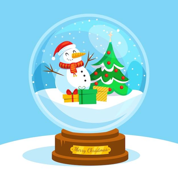 Globo piatto palla di neve di natale Vettore gratuito