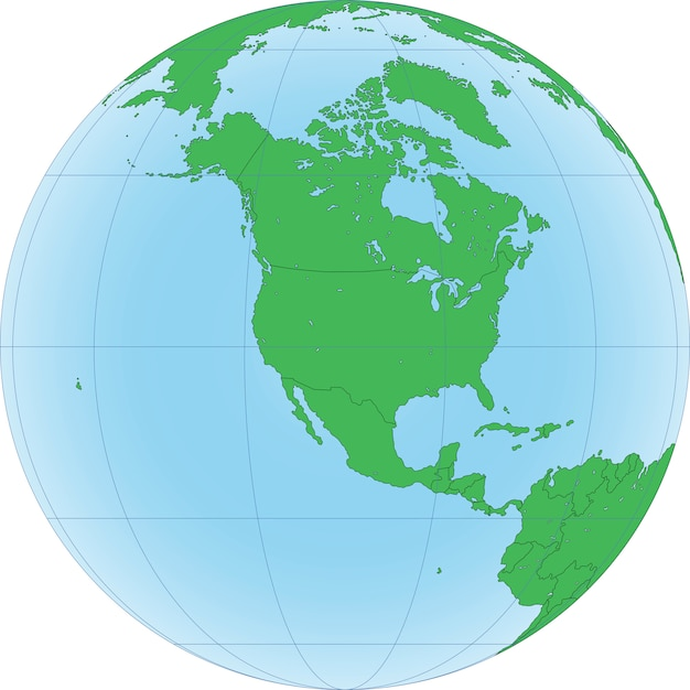 Globo terrestre con focus sul nord america Vettore Premium