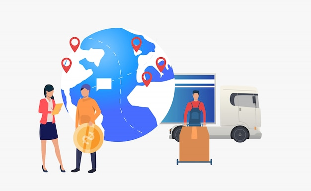 Globo terrestre con puntatori, camion e persona con grande moneta Vettore gratuito