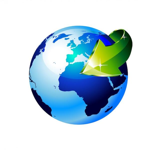 Globo terrestre con una freccia che mostra un concetto di riciclo Vettore Premium