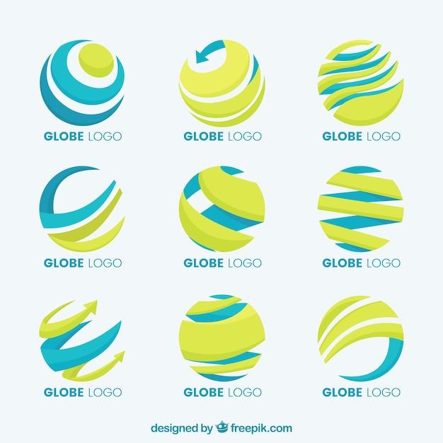 Globo terrestre giallo e blu logo collezione Vettore gratuito