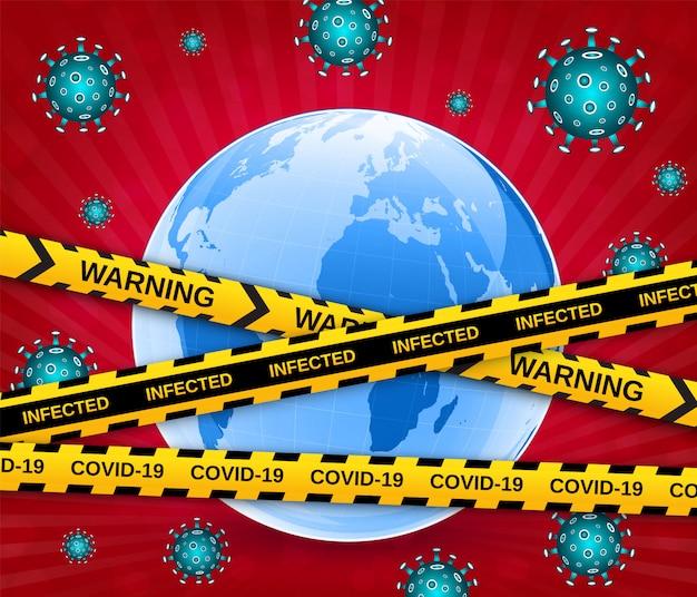 Globo terrestre in una maschera medica con virus e nastri di barriera cautela. scoppio pericoloso di coronavirus covid-19 pandemico. illustrazione vettoriale Vettore Premium