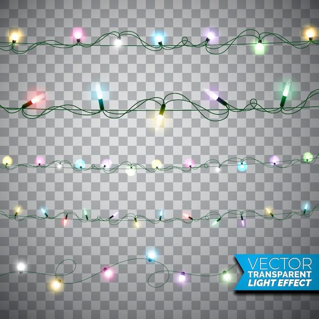 Glowing luci natalizie realistico isolato elementi di design su sfondo trasparente. Decorazioni di ghirlande di Natale per il biglietto di auguri di vacanza. Vettore Premium