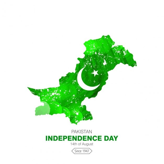 Glowing paese mappa pakistan independence day Vettore gratuito