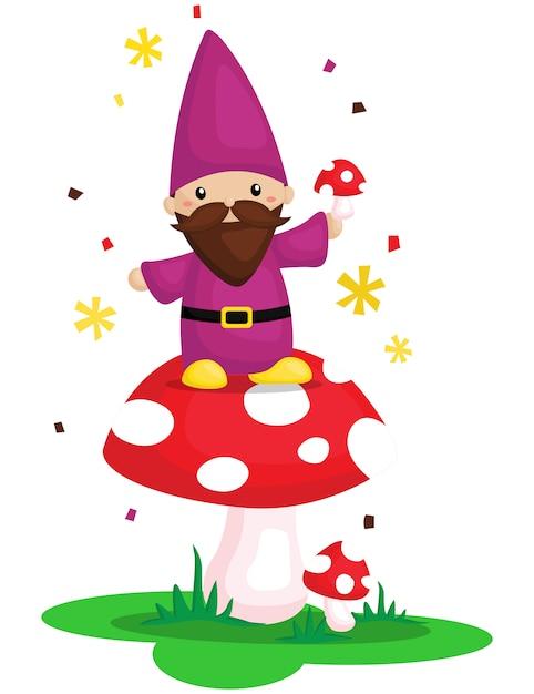 Gnome carino con funghi Vettore Premium