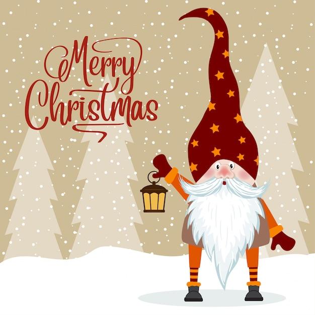 Gnome e la sua lanterna. biglietto natalizio. design piatto. Vettore Premium