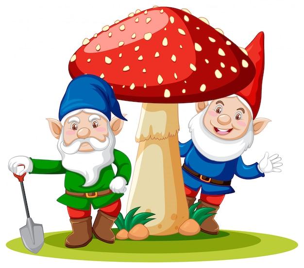 Gnomi che stanno con il personaggio dei cartoni animati del fungo su fondo bianco Vettore gratuito