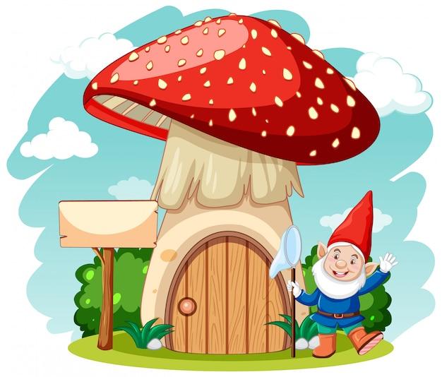 Gnomi e casa dei funghi in stile cartone animato su sfondo bianco Vettore gratuito