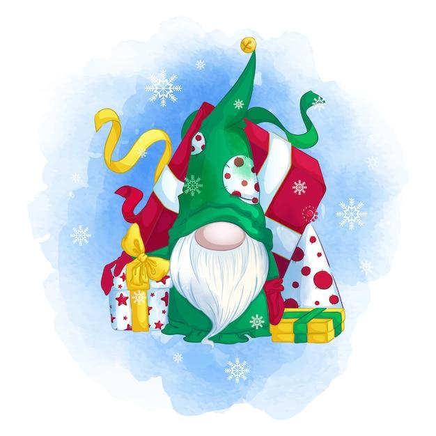 Gnomo divertente in un cappello verde con un albero di natale e regali. Vettore Premium