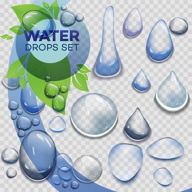 Gocce di pioggia d'acqua o doccia a vapore isolato su sfondo trasparente. Vettore Premium