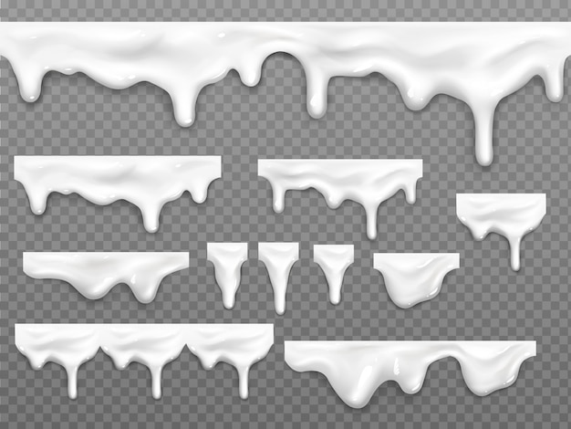 Gocce realistiche di latte gocciolante, liquido bianco fuso Vettore gratuito